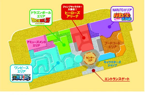 shonen jump theme park - areas