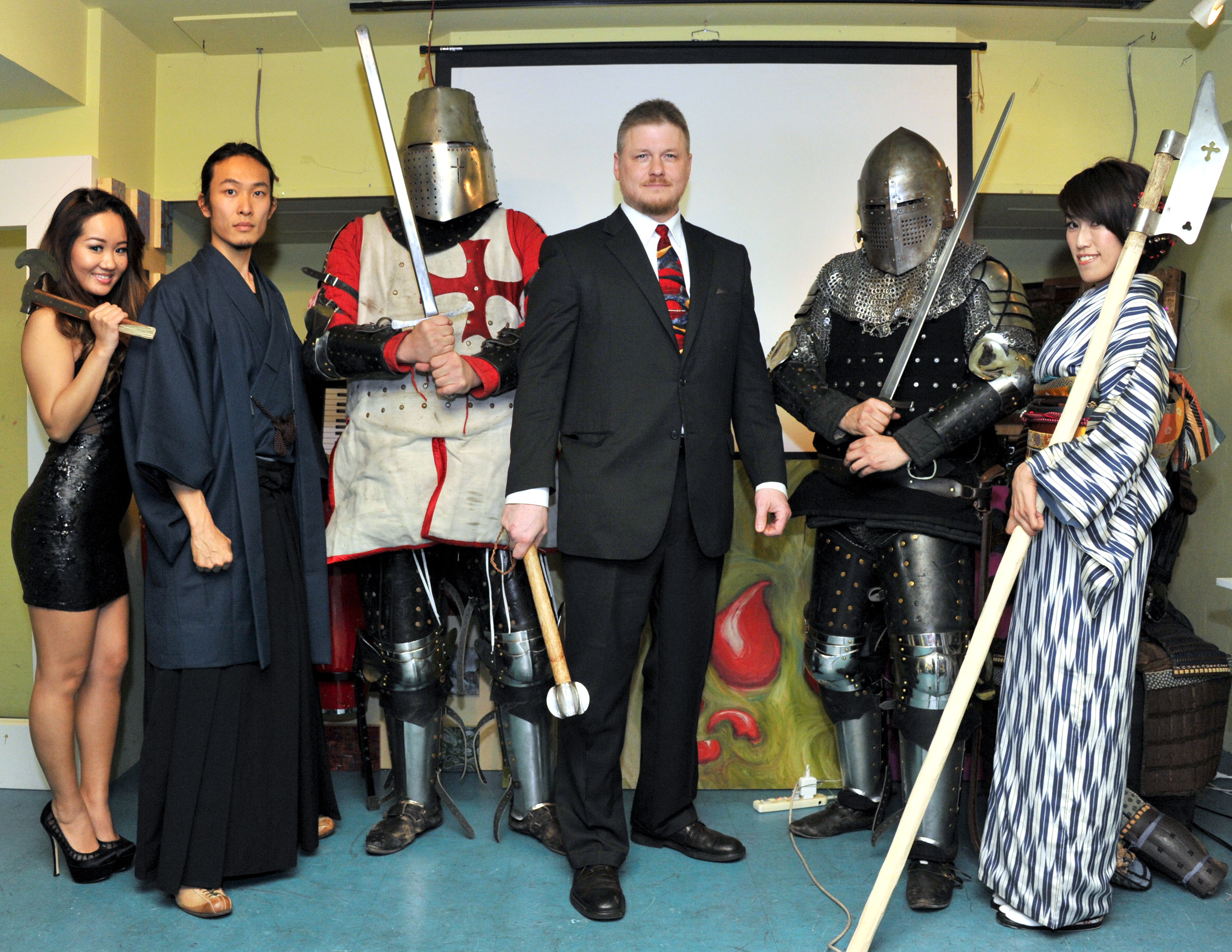 Japan Armored Battle League, Jay Noyes (fourth from left), CEO of JABL, Armors, and assistants opening ceremony, at Roppongi, The Pink Cow on Feb. 9, 2014. Gakugei-bu Hongo reports. YOSHIAKI MIURA PHOTO