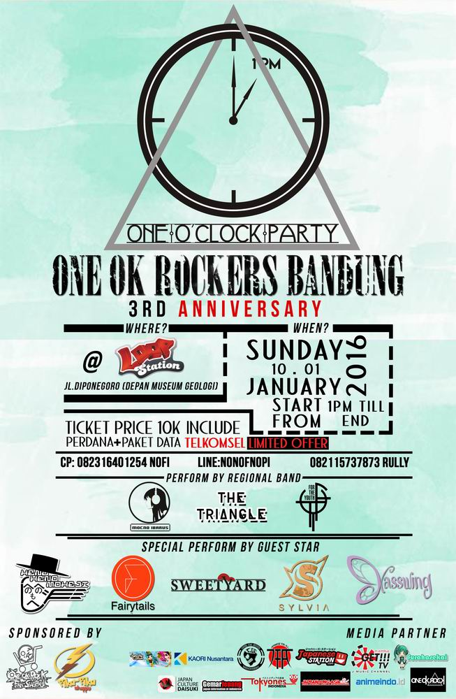10 Januari 2016 - One Ok Rockers Bandung 3rd Anniversary One O'clock Party - Loop Station Bandung