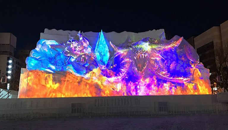 Projection Mapping Final Fantasy di Sapporo Snow Festival 2018 Pukau Netizen