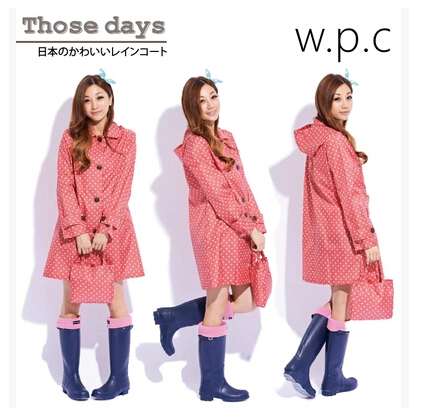 3c 2014-New-Fashion-Polyester-Pink-Polka-Dots-font-b-raincoat-b-font-rain-wear-font-b