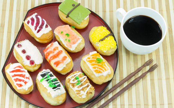 sushi doughnut with coffee