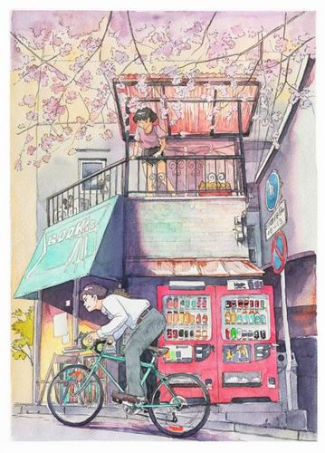 Foreign Artist Nails Modern Japan in Watercolors (1)