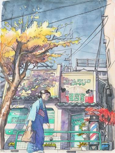 Foreign Artist Nails Modern Japan in Watercolors (3)